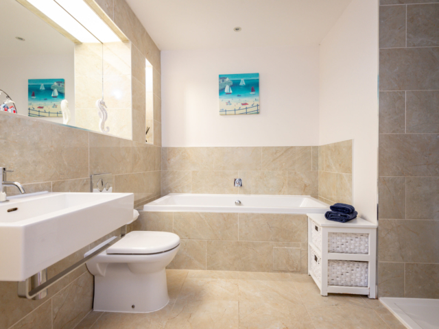 Downstairs bath and shower suitable for disabled Orangery Elie